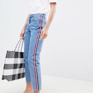 Forever 21 light wash side stripe mom jeans
